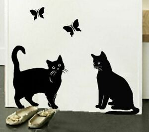 Image Is Loading Cats Amp Erflies Vinyl Wall Sticker Stencil