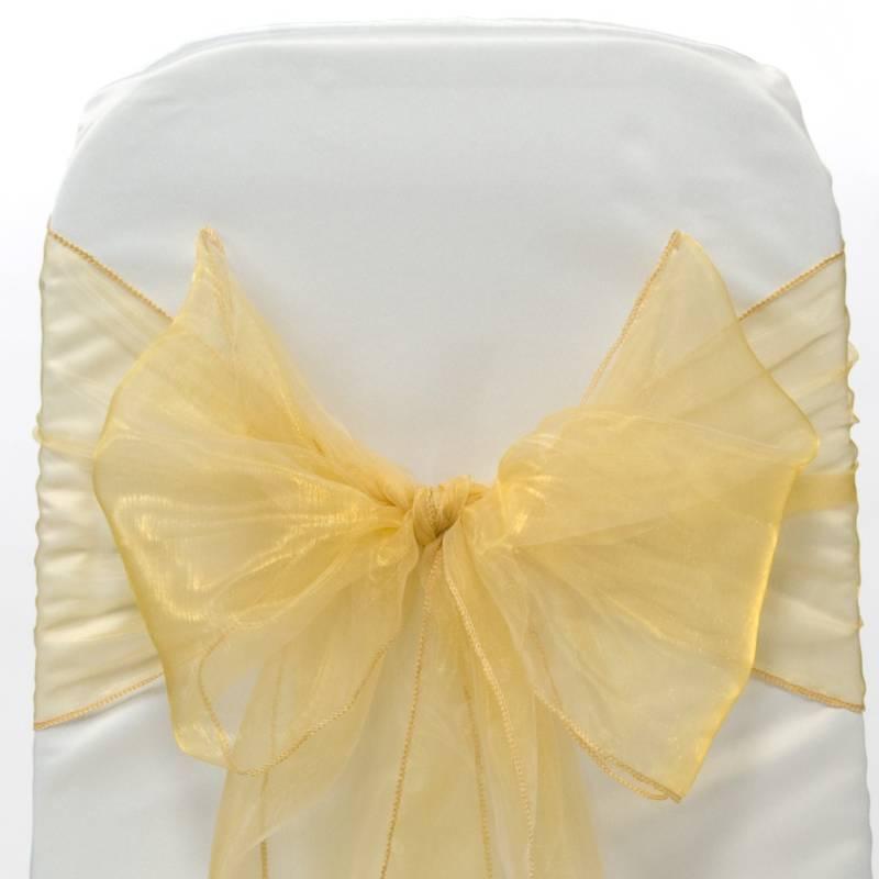 200 piezas de oro organza bucles cintas para boda silla fajín bucles