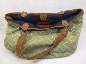 ac0bed040a TOMMY HILFIGER Logo Canvas Tote Large Bag Purse Handbag VNG-DON | eBay