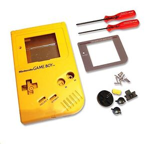 Gameboy-Game-Boy-DMG-01-Original-Console-Yellow-Shell-Housing-w-Screen-amp-Tools