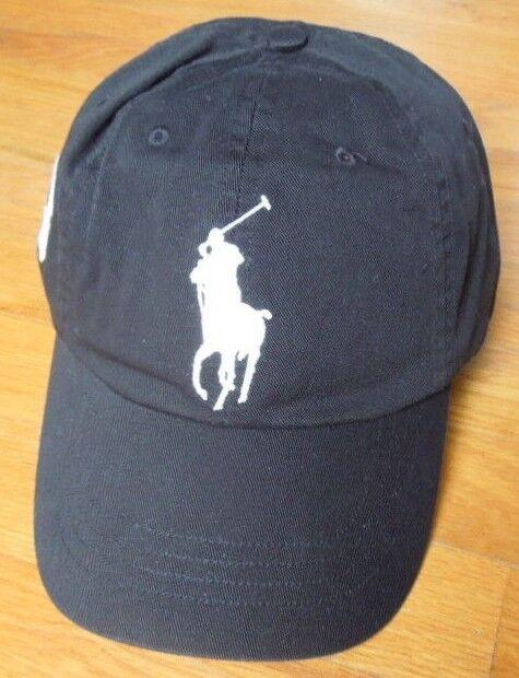 Polo Ralph Lauren Black Chino Big Pony 6 Panel Sport Hat Cotton Twill Cap  for sale online  f9c181ecce34