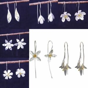 Silver-Plated-Dangle-Drop-Earrings-Ear-Hook-Solid-Flower-Women-039-s-Jewelry-Gifts