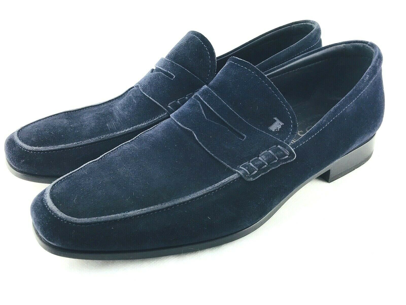 645 TODS herren Suede Penny Loafers Navy Blau unterhose On 8.5 Casual Dress schuhe 9.5