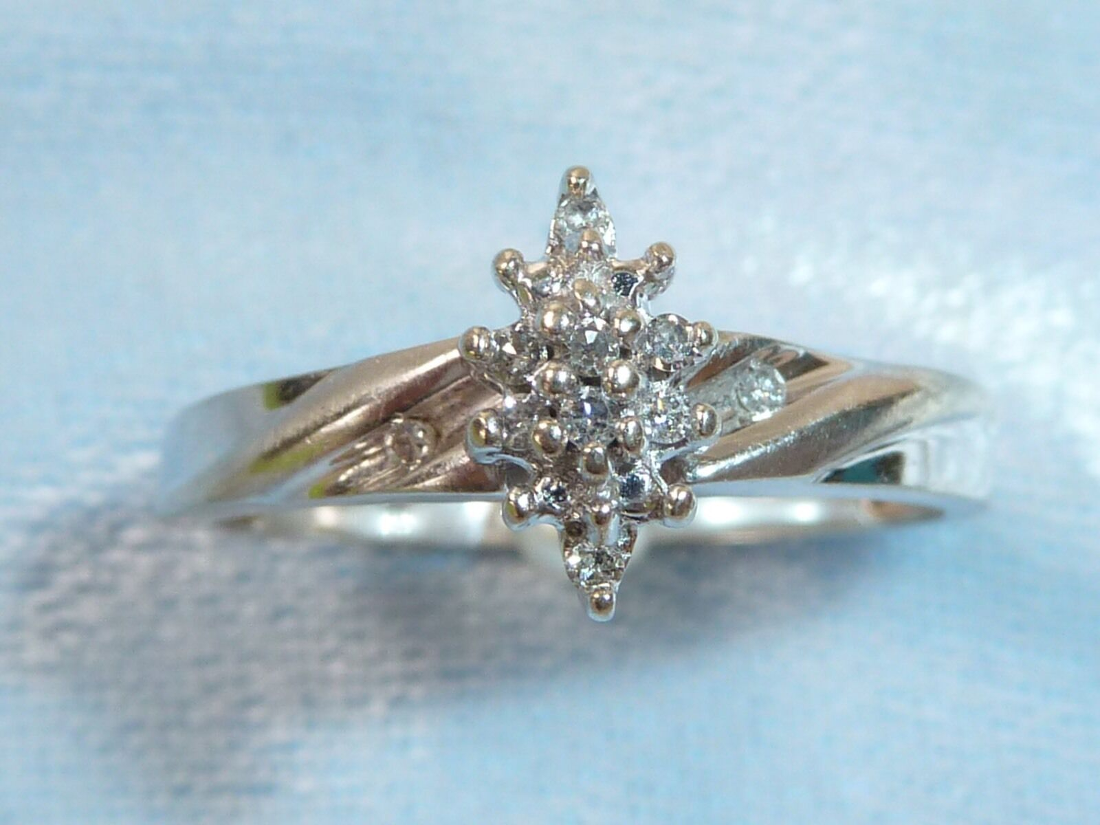 10K White gold Ring, 14, 1.25mm Diamonds, TCW .14 Carat,  Size 8-1 4