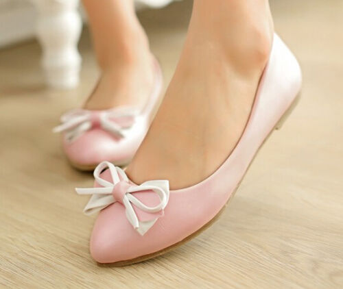 Ballerine scarpe donna rasoterra rosa tacco 1 cm fiocco moda 8793