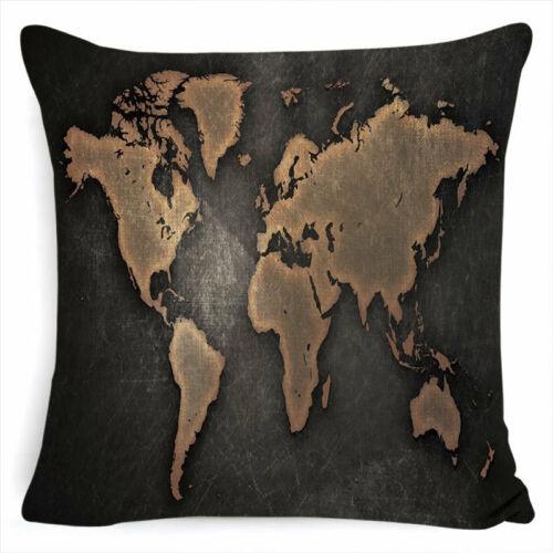 "18/"" Nautical Cushion Cover World Map Decorative Pillow Case Linen Cotton Cojines"