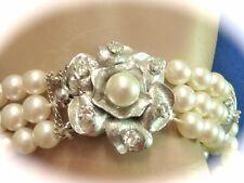 Vintage amazing 3 strand Akoya round pearl w diamond 14k wg pearl bracelet