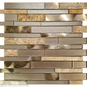 Details About Champagne Interlocking Pattern Glass Stone Metal Mosaic Tile Kitchen Backsplash