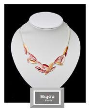 Luxus Statement Halskette Bi&Jou Paris Kette Emaille Versilbert Collier Blatt
