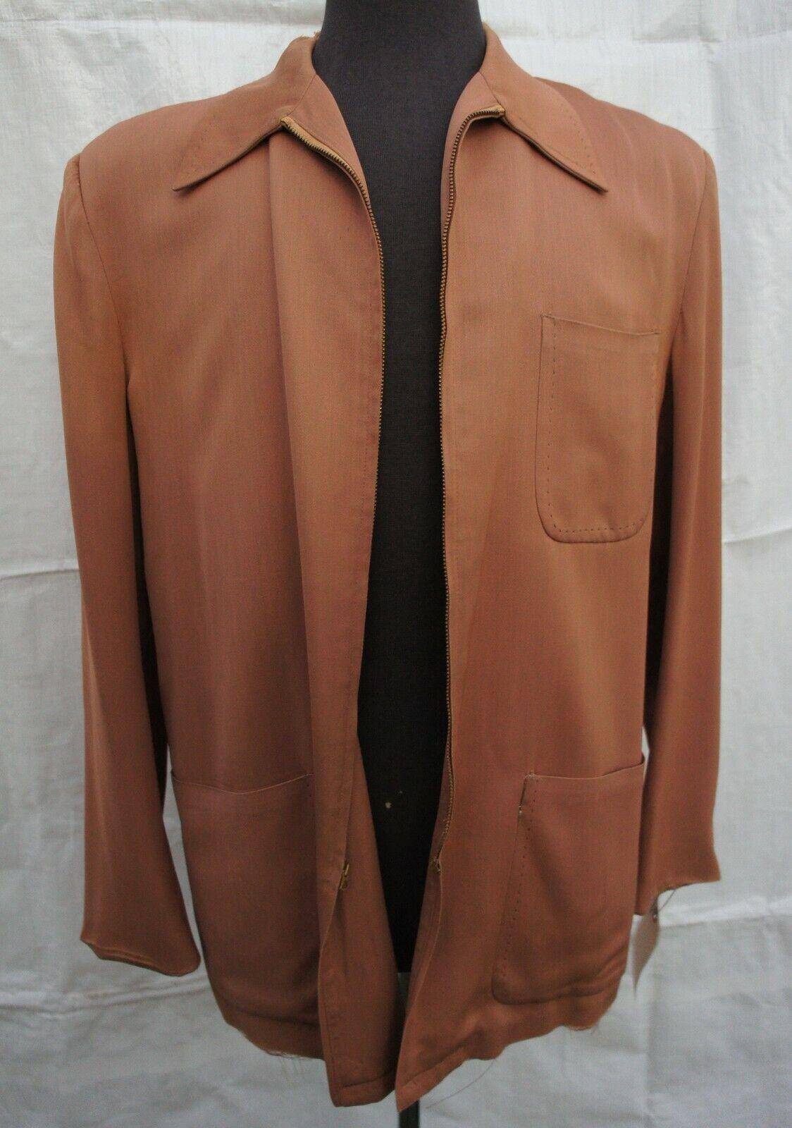 Vintage 30s 40s 50s Mens Brown Casual Zipper Jack… - image 1