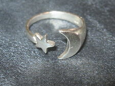 925 STERLING SILVER FANTASY WICCAN CRESCENT MOON AND STAR RING SIZES 8 +9