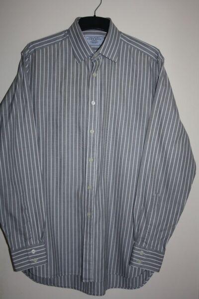 """Ragionevole Charles Tyrwhitt Grigio Da Uomo & White Stripe Camicia Taglia 16""""/41cm In Ottime Con Né Troppo Duro Né Troppo Morbido"""