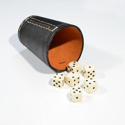 Spiele von Frobis 4 Würfelbecher Knobelbecher Schwarzes Leder mit 24 Würfel