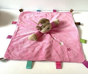 Taggies Monkey Lovey Security Blanket Pink Tan Brown Flower Rattle Baby Toy
