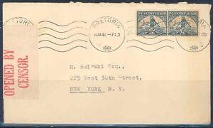 SOUTH-AFRICA-PRETORIA-DEC-18-1941-CENSORED-COVER-TO-NEW-YORK-SLIT-AT-TOP