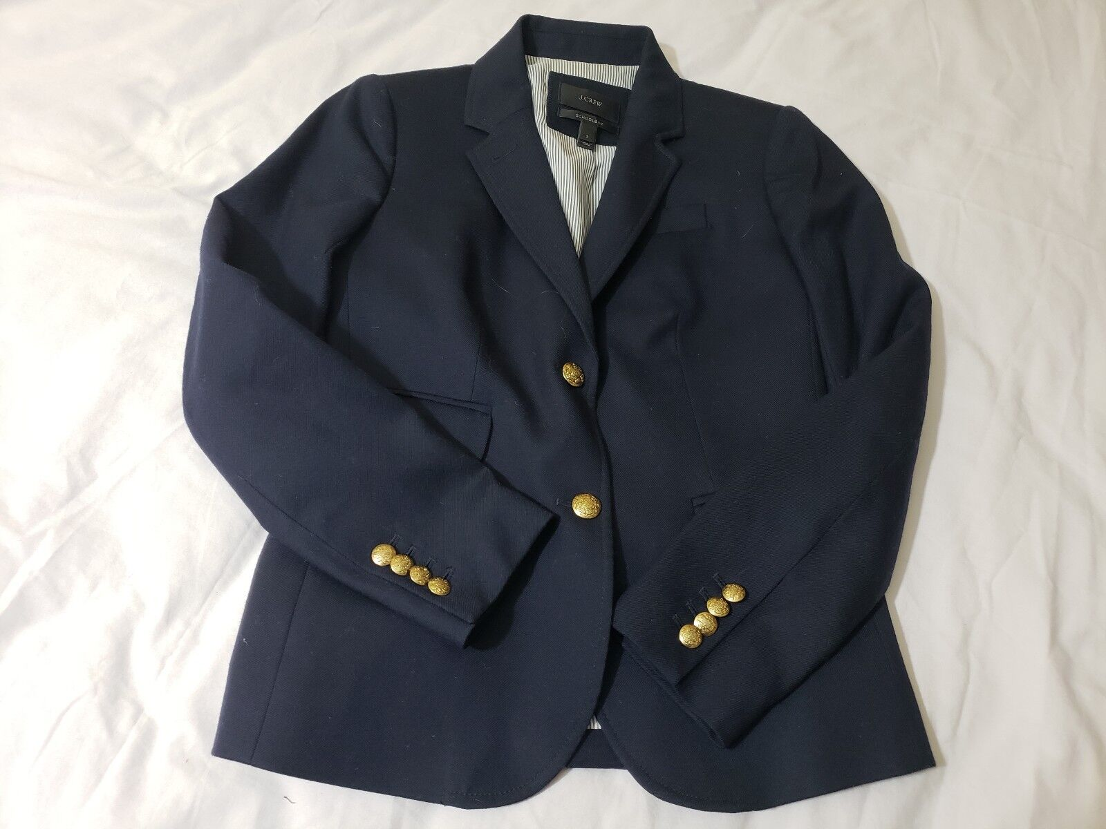 Women's J. Crew Navy Wool School Boy Blazer SZ. 2 gold Button