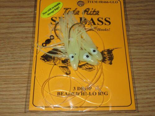 24 Sea Bass Black TIDE RITE R466-GLO 3 Drop HI-LO saltwater fish Rig MUSTAD