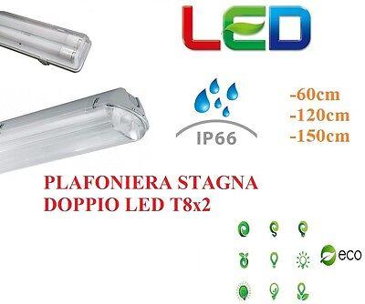 Diligente Plafoniera Stagna 2 Neon Led Tubo T8 60 120 150 Cm 220v Soffitto Esterno Interno