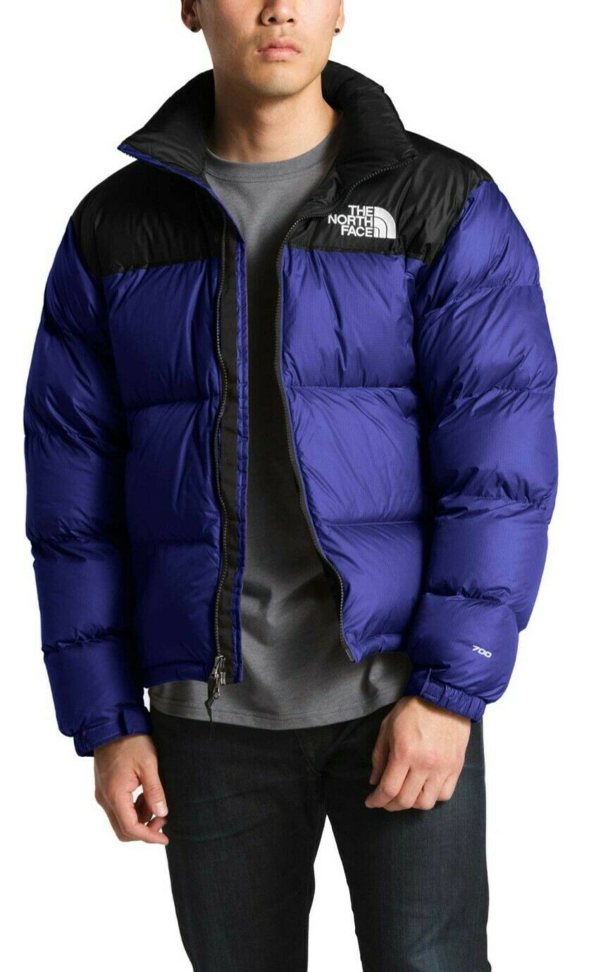 16596607f THE NORTH FACE 700 GOOSE DOWN NUPTSE BLUE & GRAY PUFFER JACKET MENS XXL 2XL