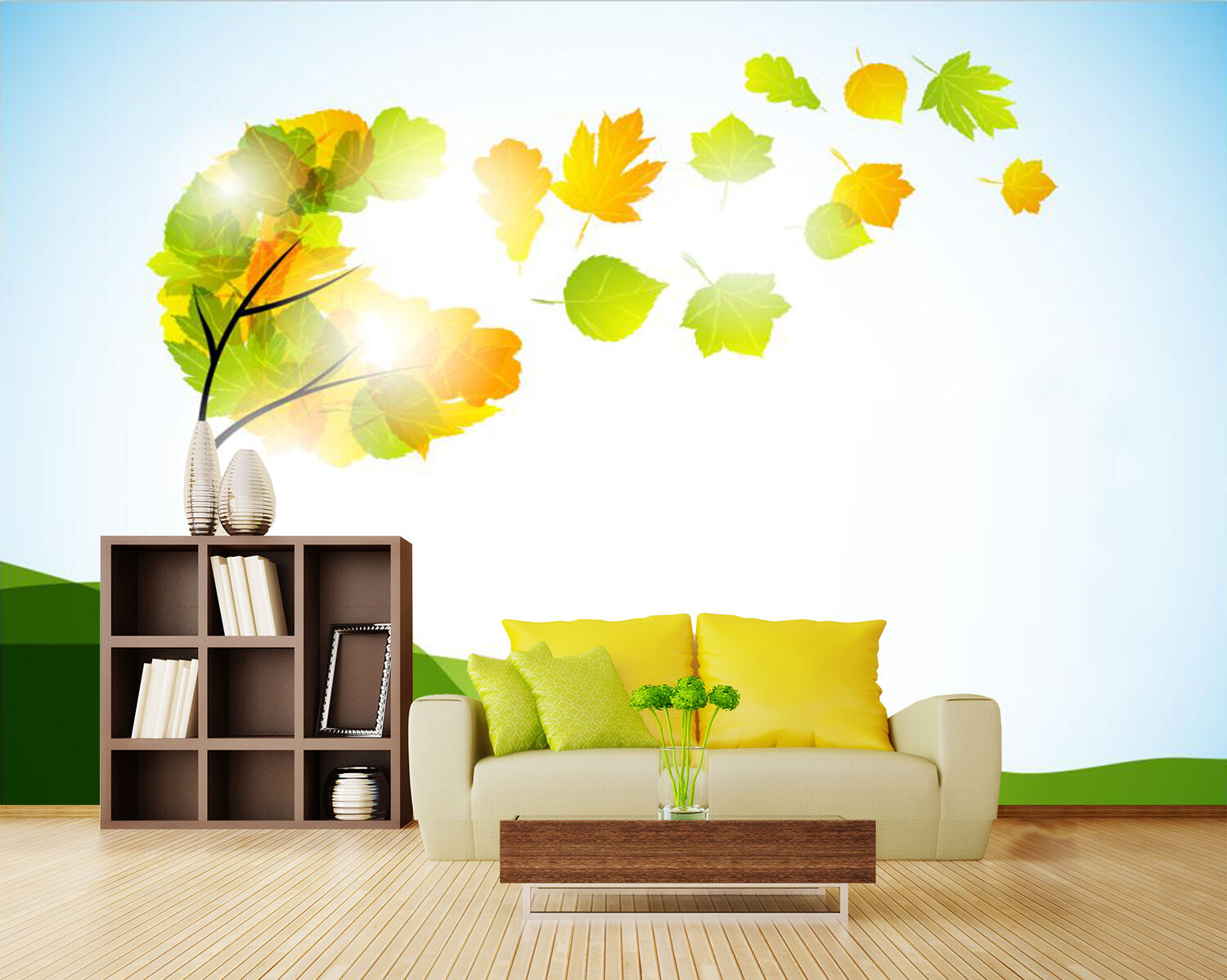 3D Tree Flying Leaves 2758 Paper Wall Print Wall Decal Wall Deco Indoor Murals