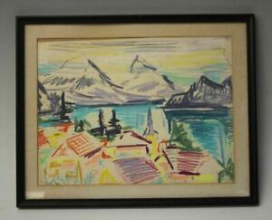 Werner-Drewes-Landscape-Drawing-1960-039-s-Signed-Framed-Original-Art-Decor-NYC