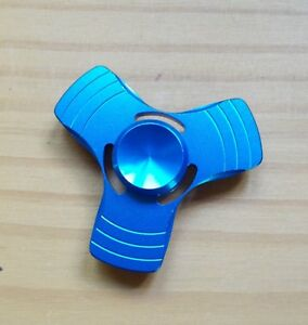 Fidget-Spinner-ALUMINIO-MANO-Spinner-azul-metalico-Super