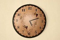 Rustic Primitive Country Star Heart Berry Vine Wood Wall Clock