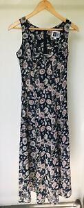Review Vintage Women's Sheer Floral Black Dress Retro Nineties 90's Size 12