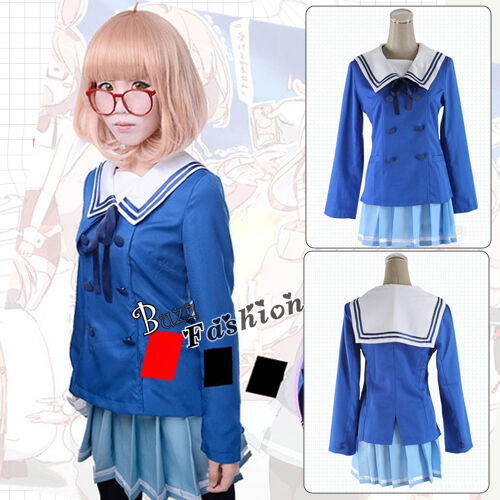 Beyond the Boundary Mirai Kuriyama Cosplay Kostüm Anime Hochschule Uniform Blau