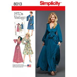 Simplicity-Sewing-Pattern-8013-Misses-039-Vintage-1970-039-s-Faux-Wrap-Tie-Dresses