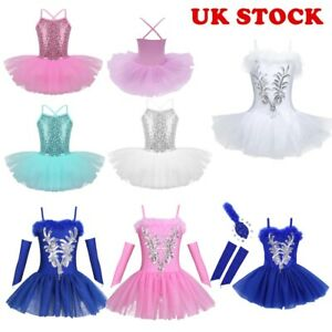 UK-Kids-Girls-Lyrical-Ballet-Dance-Tutu-Dress-Sequins-Ballerina-Leotard-Costumes