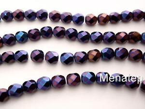 Purple Iris 50 4x4mm Czech Glass Cubes