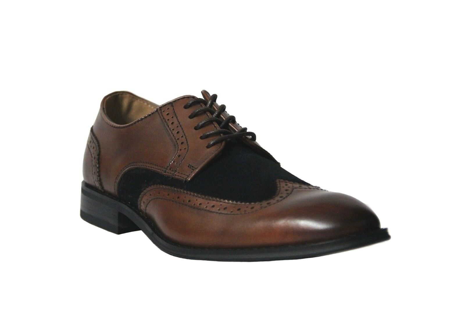 La Milano Men's Brown Navy Leather Suede Wing Tip Dress shoes A11408