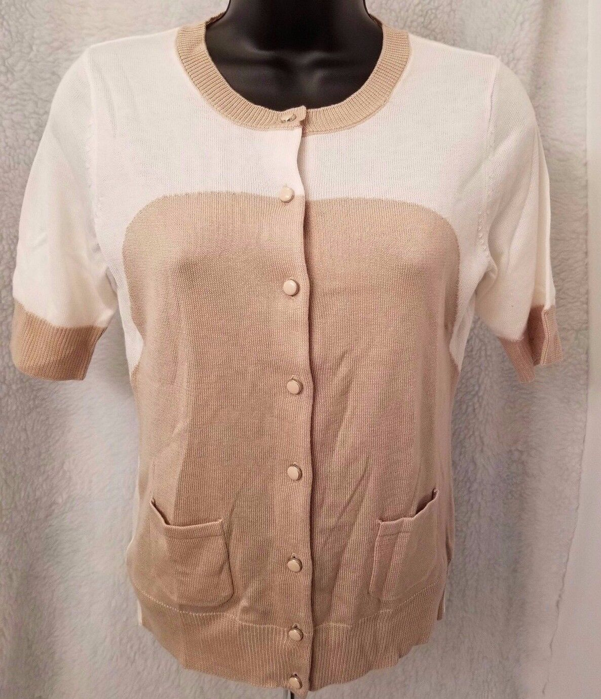 New York & Company NWT Womens Ivory Brown Button Down Sweater Top Size XS
