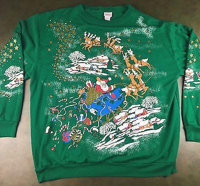 Vintage Unisex 80s Ugly Christmas Santa Funny Green Graphic Sweatshirt Sweater