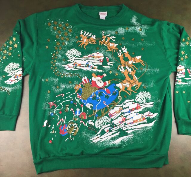 Vintage Unisex 80s Ugly Christmas Santa Funny Green Graphic Sweatshirt Sweater