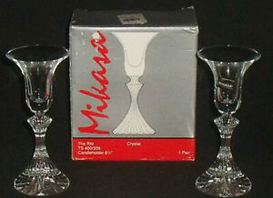 Mikasa-THE-RITZ-Crystal-Candleholders-Candle-Holders-TWO-In-Box-6-25-034