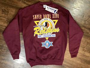 Super-Bowl-XXVI-1991-Washington-Redskins-NFL-Sweatshirt-Pullover-Large-NWT-VTG