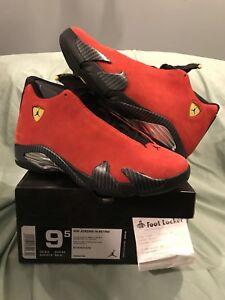 new style a93ba 9e5ee Details about Nike Air Jordan 14 XIV Retro SZ 9.5 Ferrari Chilling Red  Suede Toro 654459-670