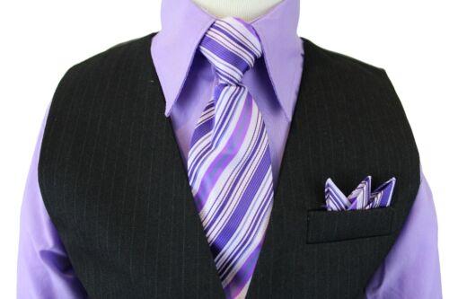 Tie Lilac Boy/'s Pinstripe Vest Set with Colored Shirt Vest and Pants Violet
