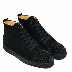 Details About Brand New Christian Louboutin Lou Flat Suede Black Spikes High Top