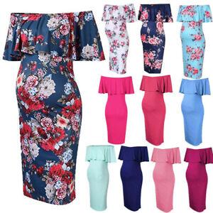 Womens-Maternity-Pregnants-Summer-Off-Shoulder-Ruffles-Casual-Nursing-Dress