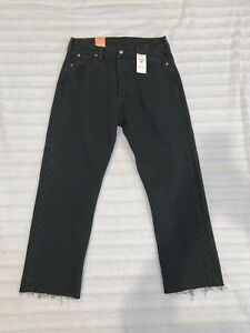 e0343b01eea Levis Mens 524360000 Jeans 501 Black Pleated Crop Button Fly Size 30 ...
