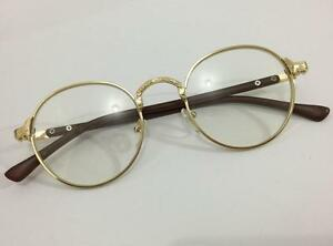 1b6a37e494 Vintage Oval Gold Eyeglass Frame Man Women Plain Glass Clear Full ...
