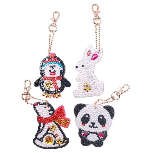 4pcs DIY Animals Full Drill Special Shaped Diamond Painting Keychains Gifts Xmas