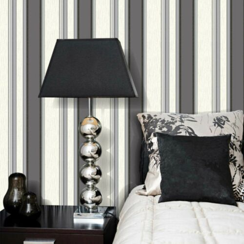 Vymura Wallpaper Synergy NEW Ebony Black //Silver Glitter- M0785 Stripe