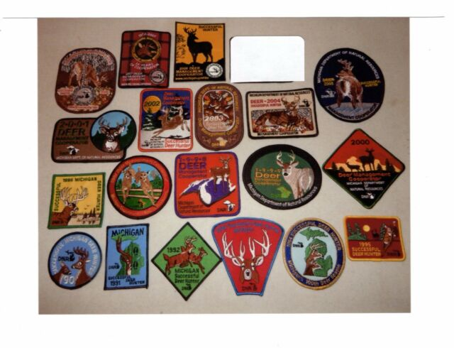 MICHIGAN DNR SUCCESSFUL DEER HUNTER PATCHES (19 DIFFERENT) (1990-08)-BEAR-TURKEY