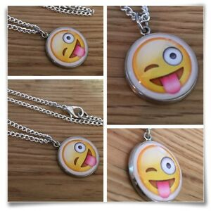 Emoji-face-Wink-smile-tongue-silly-face-Charm-pendant-necklace-txt-geek