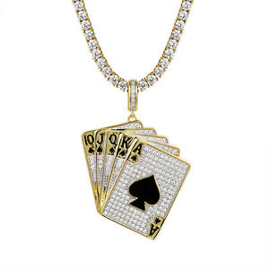 Playing cards ace spades king pendant 14k gold finish simulated image is loading playing cards ace spades king pendant 14k gold aloadofball Image collections