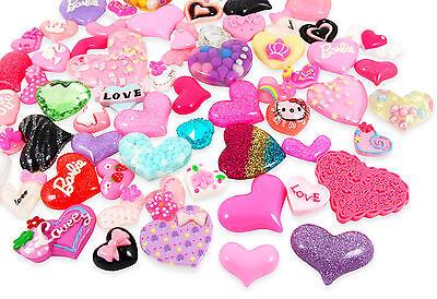 10, 15 or 25 Cute Hearts Kawaii Cabochon Set Kit DIY Decoden Craft Mix